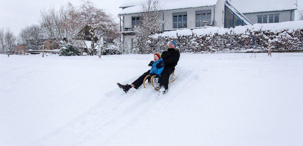 Endlich Winter – Zeit zum Schlittenfahren